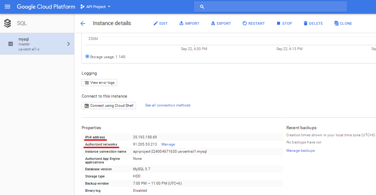 How to connect to MySQL database located on Google Cloud Platform